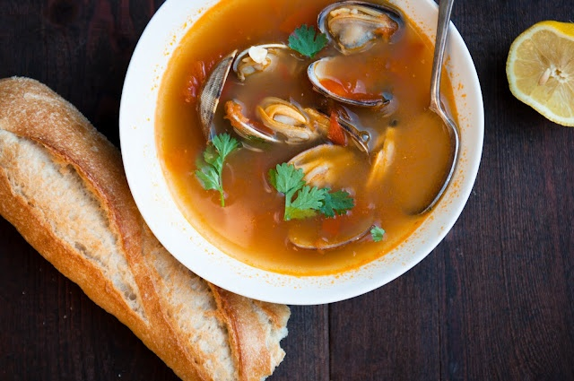 Spicy Tomato + Clam Soup. For when I go clam digging this summer.