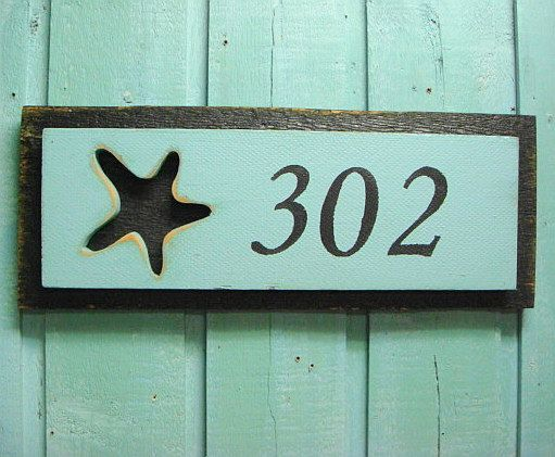 House number sign beach lake house decor 3 numbers - Decorative house number signs ...