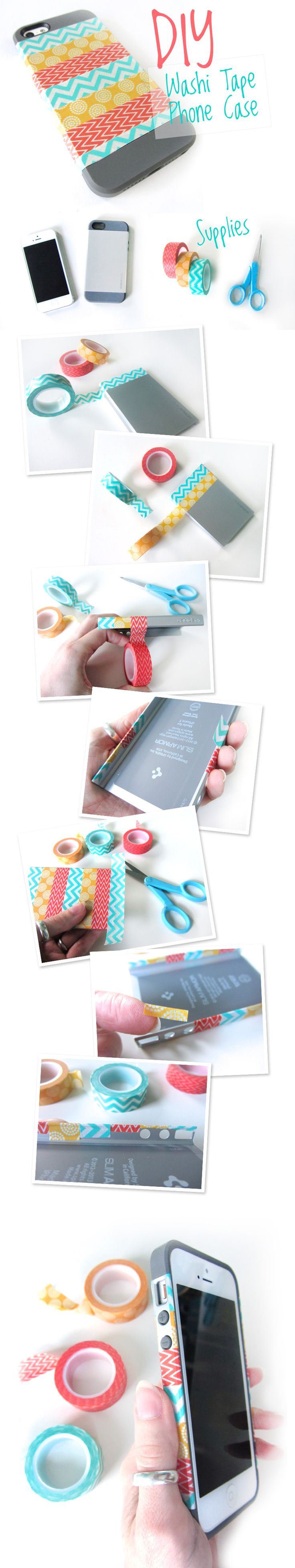 Diy washi tape phone case decor crafts diy pinterest for Washi tape phone case