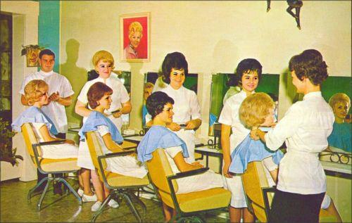 Vintage beauty parlor hairdresser pinterest for 1950 s beauty salon