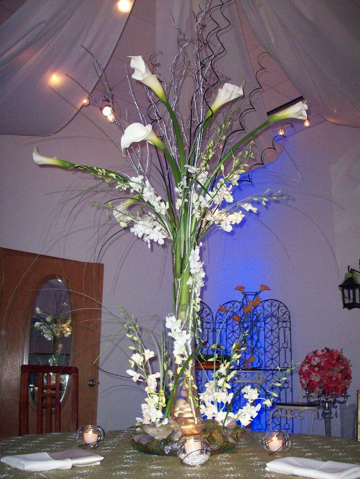 Tall calla lily wedding centerpieces