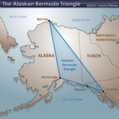 The Alaskan Triangle is a Devil′s Graveyard of lost ships, airplanes and missing people. Since 1988, some 16,000 people have vanished in the Alaska Triangle. Annually, 4 out of every 1,000 Alaskans disappear without a trace.