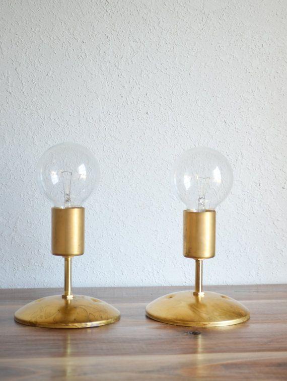Modern Gold Wall Lights : Gold Brass Industrial modern wall sconce light. Globe light bulb. Bat?