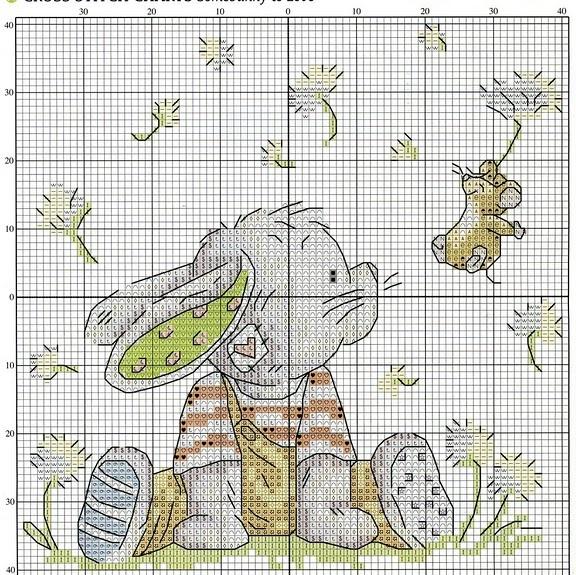 Схема вышивка крестом зайка 23