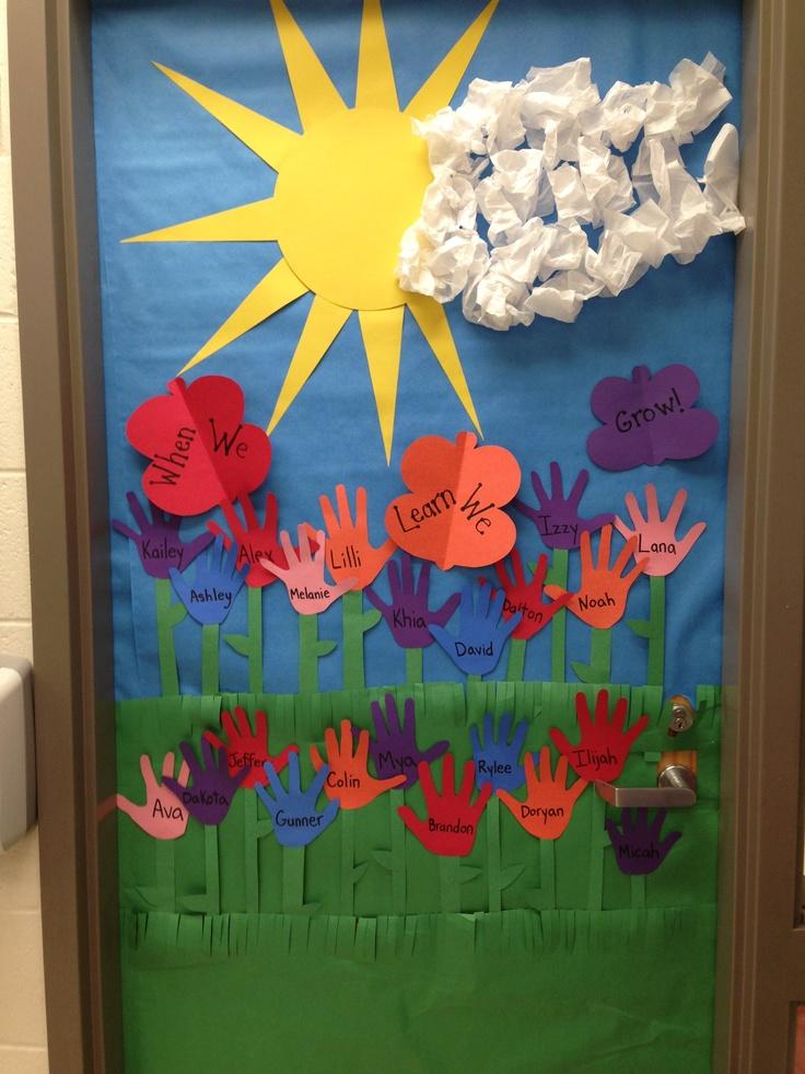 Spring door decoration i made bulletin boards door ideas for Door mural ideas