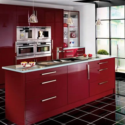 Kitchen wickes bordeaux burgundy gloss for Burgundy kitchen cabinets