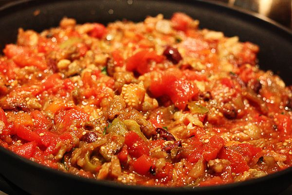 eggplant and red pepper sauce. On whole wheat pasta, fried or ...