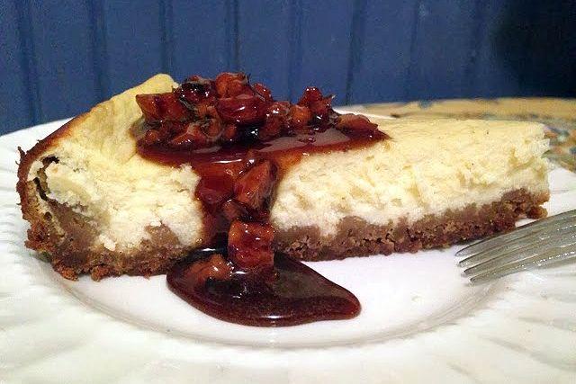 Greek yogurt 'cheesecake' with Baklava style honey-walnut topping
