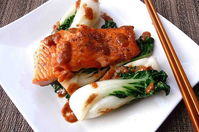 Seared Salmon & Baby Bok Choy with Miso Sauce Recipe by CookinCanuck ...