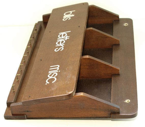Vintage retro wooden mail sorter letter holder key holder 1970s - Wooden letter and key holder ...