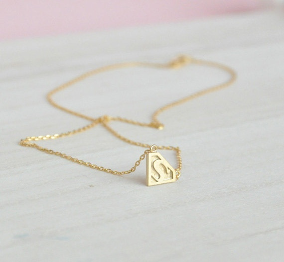 gold superman necklace superman charm superman pendant