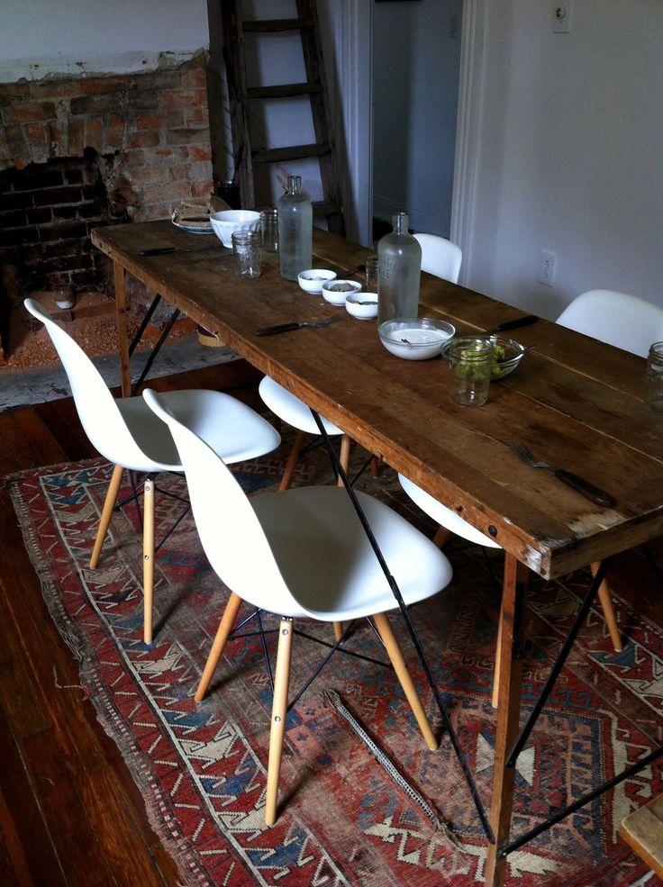 Farm table rug white modern chairs Patio Backyard