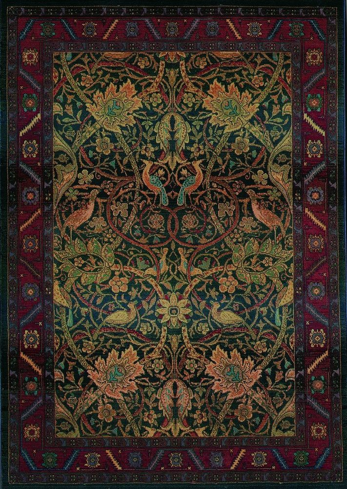 5x8 william morris arts crafts mission style multi for Arts and crafts style rug