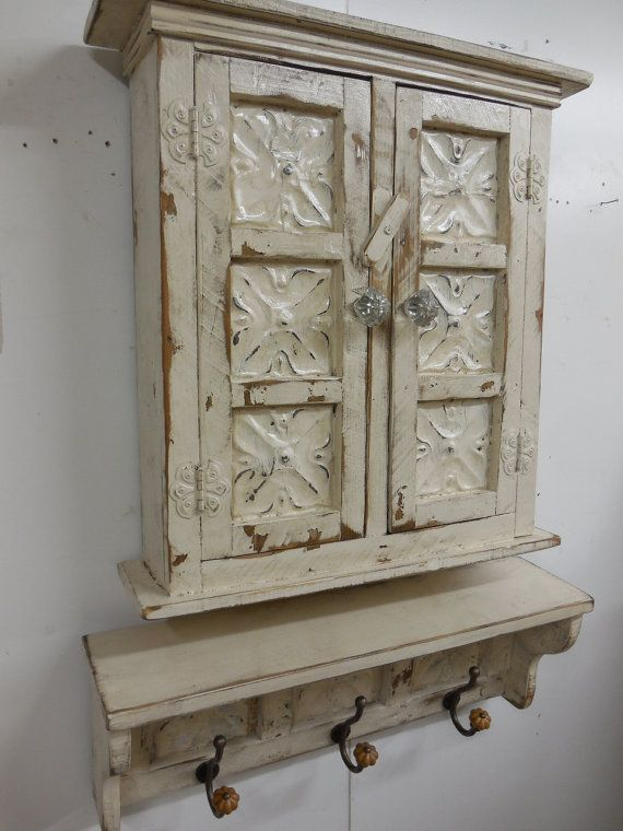 Small primitive wall cabinet french country wall shelf antique ceil - Antique bathroom wall cabinets ...