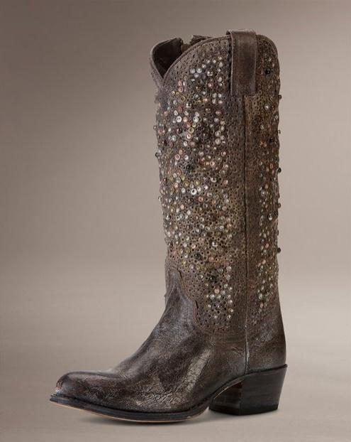 Deborah Studded Tall Cowboy Boots
