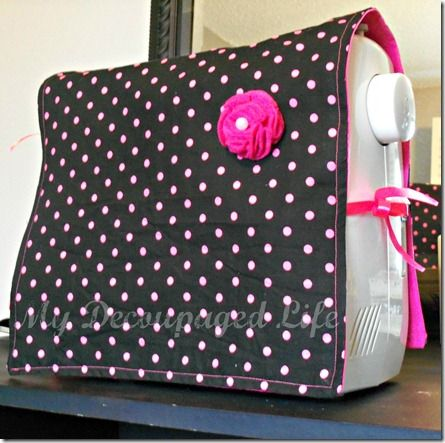 easy sewing machine cover by Brittany @ my decoupaged life, brilliant idea... im off to find some fabric to make one for my machine now!