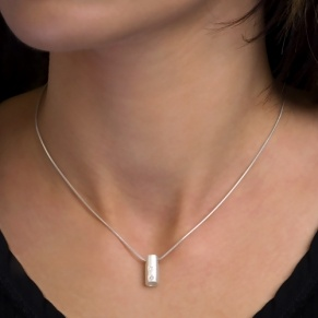 STERLING SILVER PENDANT, ZIRCONIA, CYLINDER