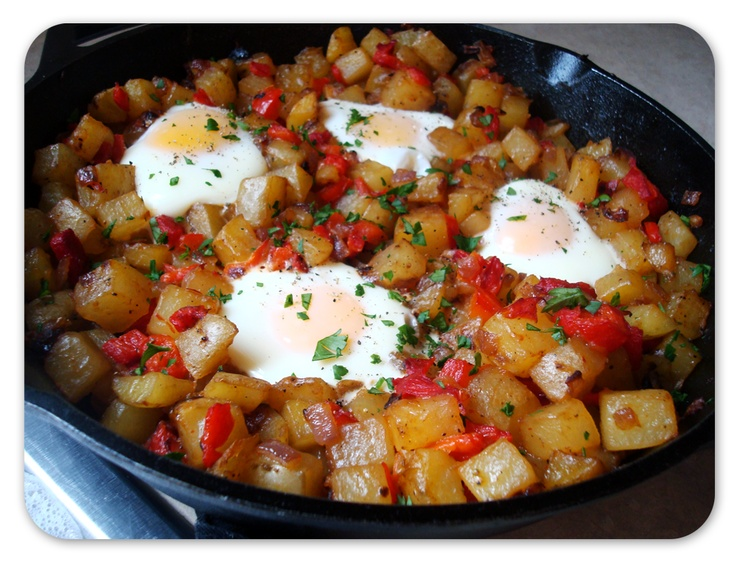 Skillet Potatoes with Roasted Red Peppers and Baked Eggs