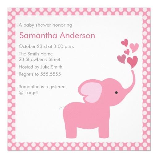 elephant hearts baby shower invitation girl
