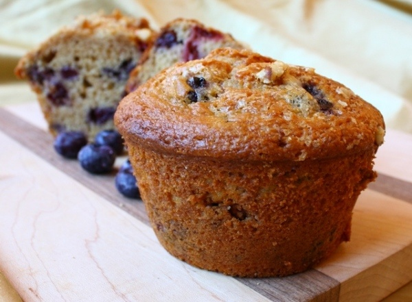 Muffins - Healthier Berry Muffins with Non-Fat Sour Cream, Applesauce ...