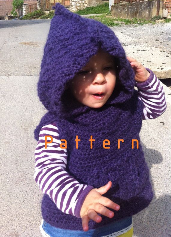Crochet Pattern For Baby Hooded Poncho : Crochet pattern-Purple alpaca hooded poncho/vest for 1 to ...