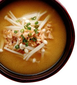 Miso Soup With Enoki Mushrooms Recipe — Dishmaps