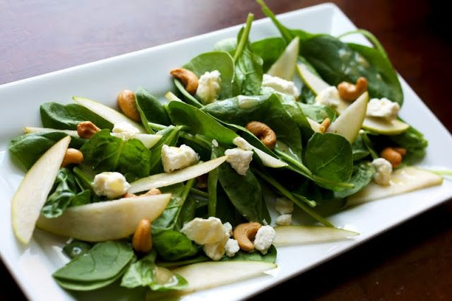 Pear and Feta Spinach Salad | The Flourishing Foodie