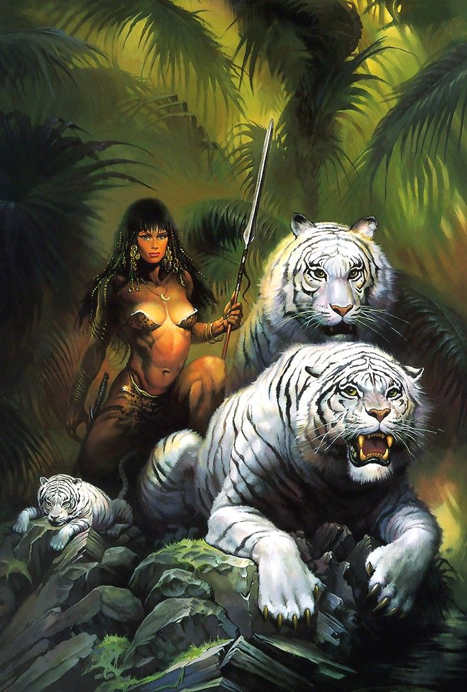 Jungle girl with two white tigers