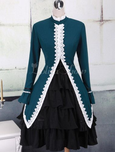 Stand Collar Long Sleeves Cotton Lolita Gothic Dress - Lolitashow.com
