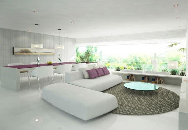 pur-weisess-wohnzimmer-flieder-akzente-kissen-esstisch-grau-teppich ...