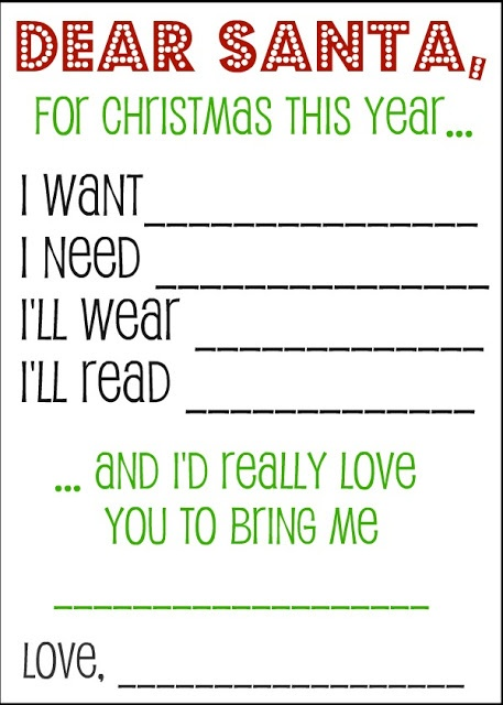 Dear Santa Printable WishList - #christmas #printable
