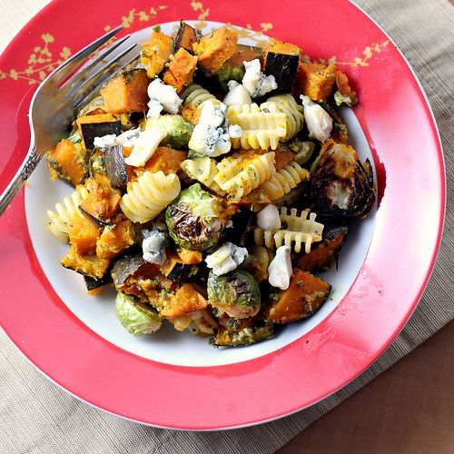 Pasta with Sage-Walnut Pesto, Winter Squash and Brussels Sprouts