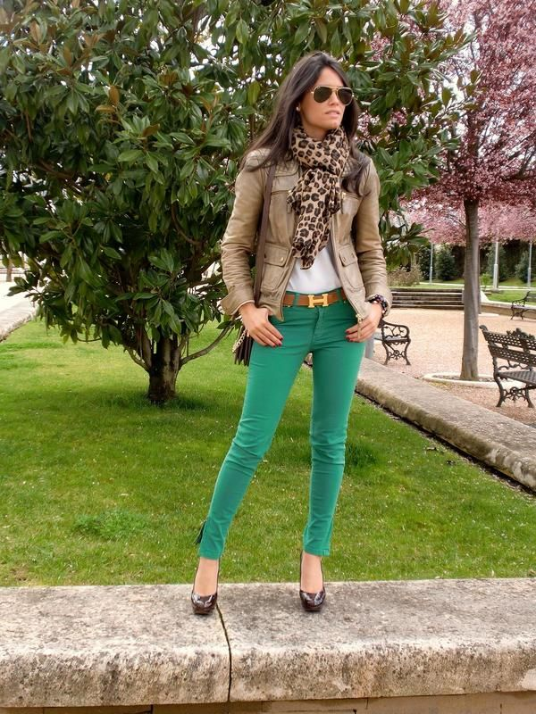 Green Jeans, Leather Jacket and Leopard Scarf