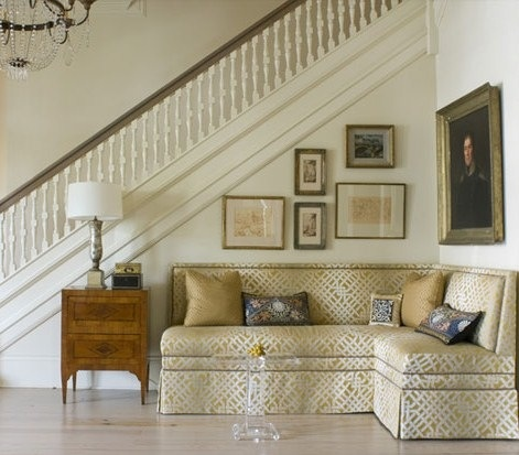 Love the seating area in entry hall railing stairs for Foyer seating area ideas