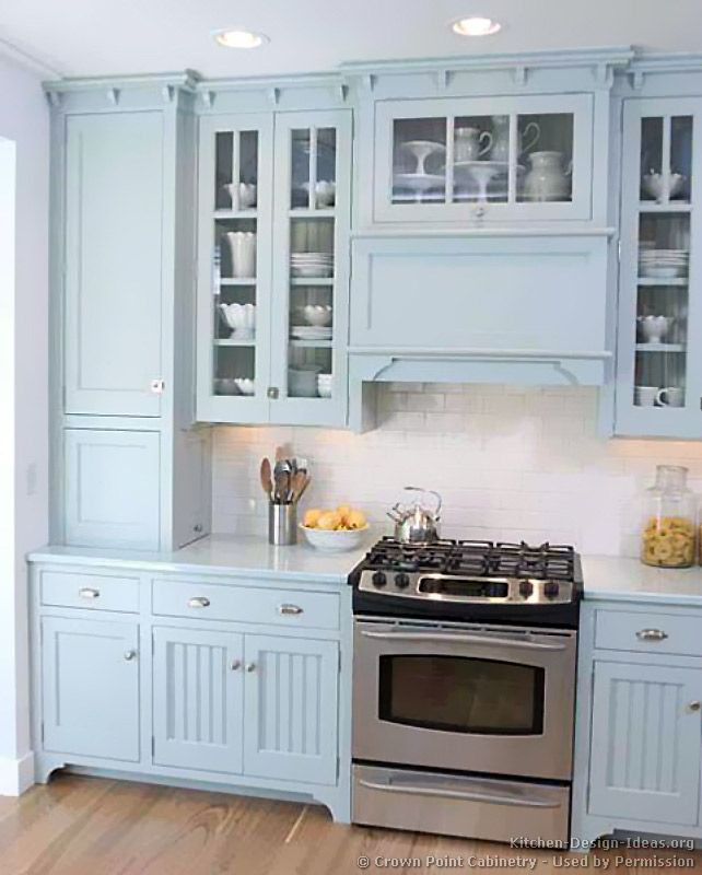 Traditional Blue Kitchen Cabinets #03 (Crown Point com, Kitchen Design