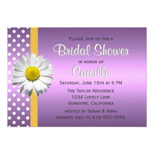 Purple and Yellow Daisy Bridal Shower Invitation we are given ...