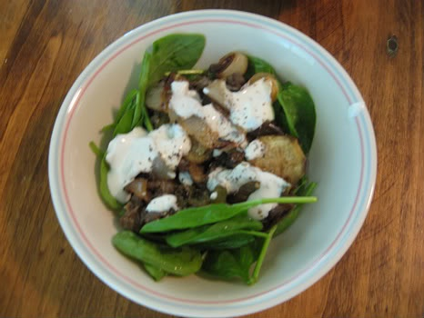 warm lentil spinach salad with goat cheese | Salads | Pinterest