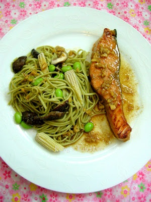 Soy & Ginger Salmon with Cha Soba | My kind of food. | Pinterest