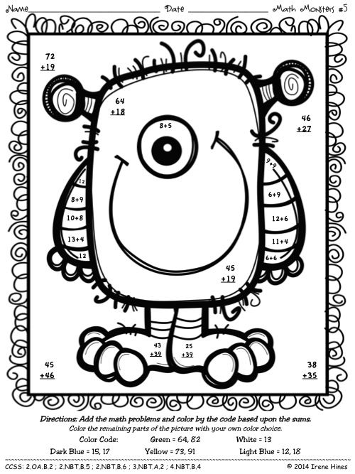 Free coloring pages of double digit addition