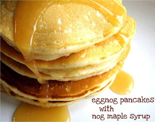 Eggnog pancakes with nog maple syrup | Delish! | Pinterest