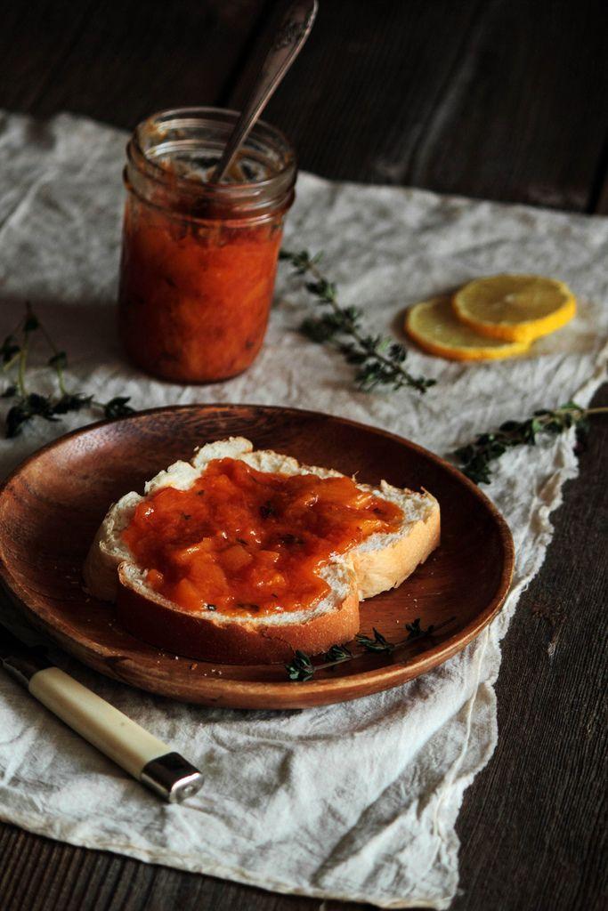Bourbon Peach & Thyme Jam {3 large fresh peaches, peeled; 3 T ...