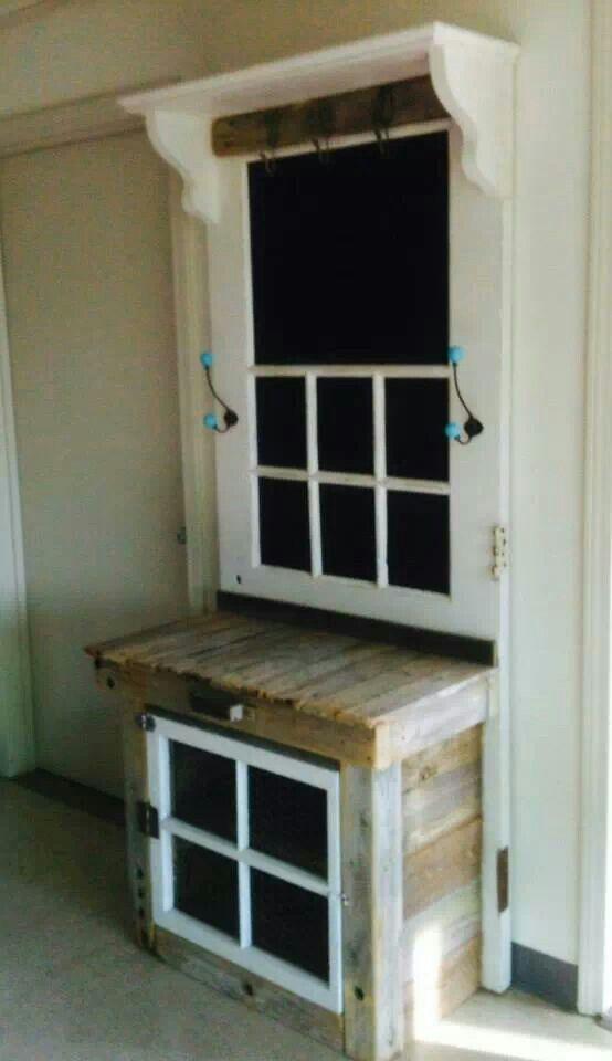 Vintage door and window repurposed | Craft Ideas | Pinterest