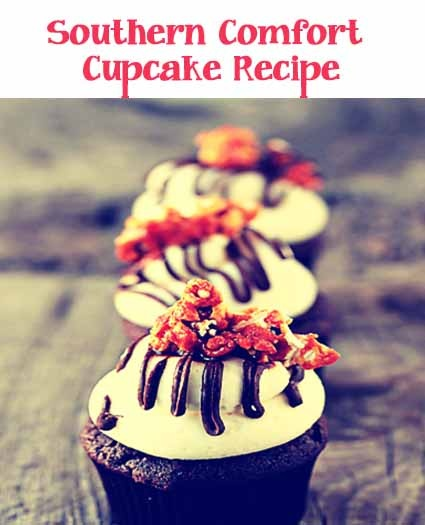 Chocolate cupcakes infused with Southern comfort and chocolate drizzle ...