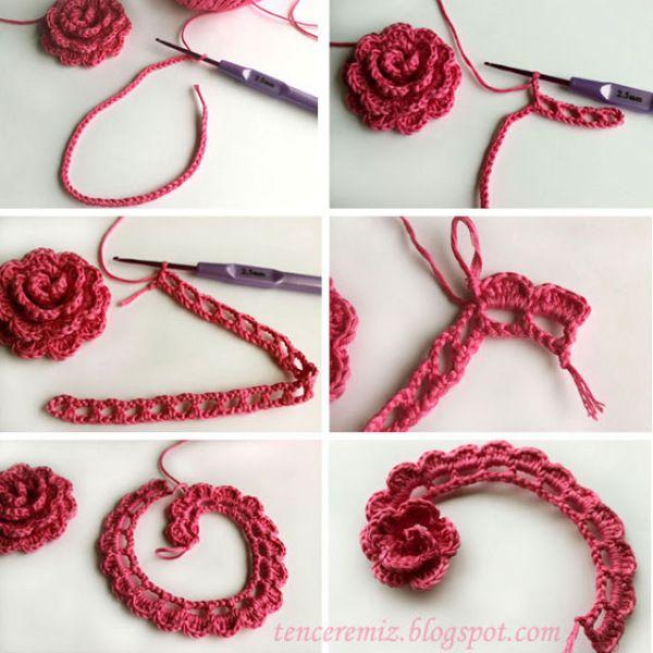 crochet flower tutorial Knitting & Crocheting Pinterest