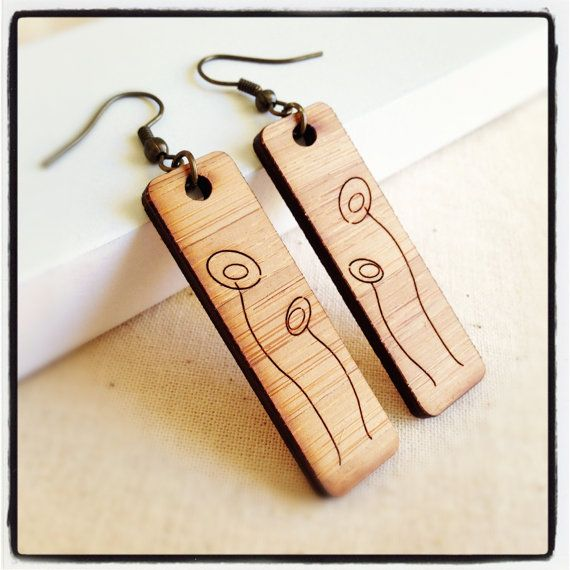 Wooden earrings jewelry women eco friendly wood with poppy for How to make a wooden pendant