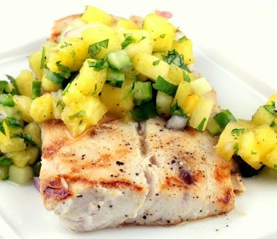 Grilled Mahi Mahi with Pineapple Cucumber Salsa. I pan seared it since we have no grill here and it was still tasty. Would be ten times better grilled. Everything always is.