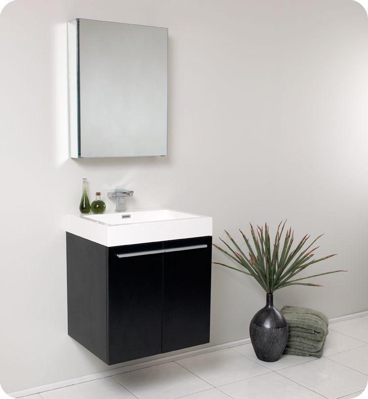 alto black wall mounted bathroom vanity w medicine cabinet faucet