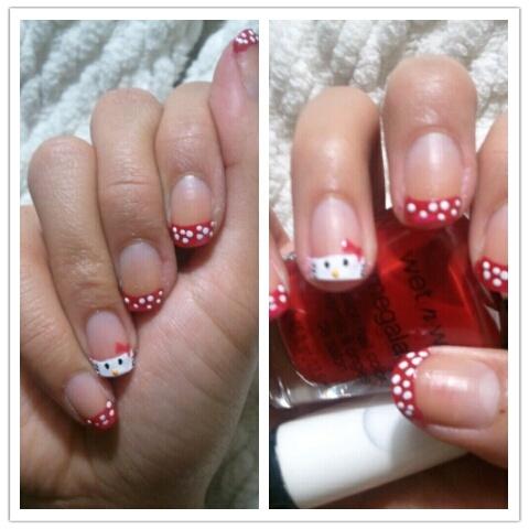 Hello Kitty Nail Art Design #hellokitty #nailart