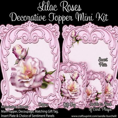 Lilac Roses Decorative Topper Mini Kit