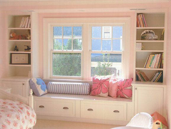 Built in storage and window seat house ideas pinterest for Bedroom window designs